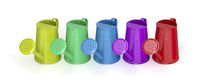 Row with colorful watering cans