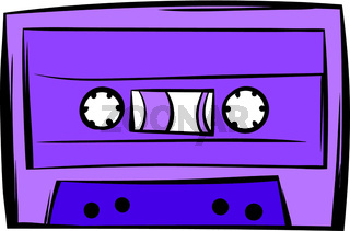 Music-cassette or tape icon cartoon