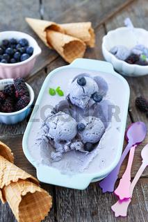 Hausgemachtes Blaubeer Eis