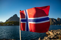 Norway Flag. Beautiful Nature Norway natural landscape.