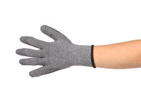 Gray rubber protective glove on hand.