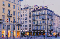 Classic European architecture and historical buildings on the city center streets of Milan in Lombardy region in Northern Italy in the evening