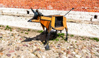 Art installation in the form of a cow next the Pyatnitsky Gate