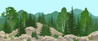 Seamless Mountain Landscape with Trees