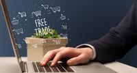 Businessman working on laptop, e-commerce concept