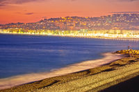 Evening beach view of City of Nice on French riviera