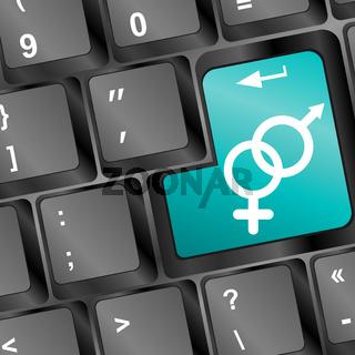 man and woman symbol on computer keyboard key