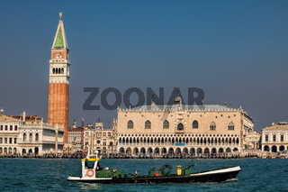 Freight ship on the Canale della Giudecca in front of Venice, Italy