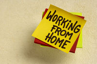 working from home note - WFH and telecommute concept