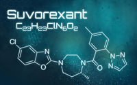 Chemical formula of Suvorexant on a futuristic background