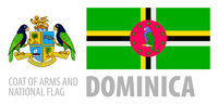 Vector set of the coat of arms and national flag of Dominica