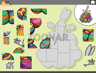 jigsaw puzzle game with Easter bunny and eggs