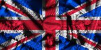 flag of the United Kingdom (UK) aka Union Jack with industrial hardware