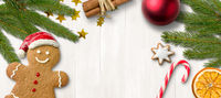 A gingerbread man and christmas decoration