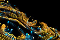 Neon glowing twisted cosmic lines on the glossy surface. Turbulence curls flow colorful motion. Fluid and smooth astronomy vortex swirl structure. 3d rendering Abstract creative modern background