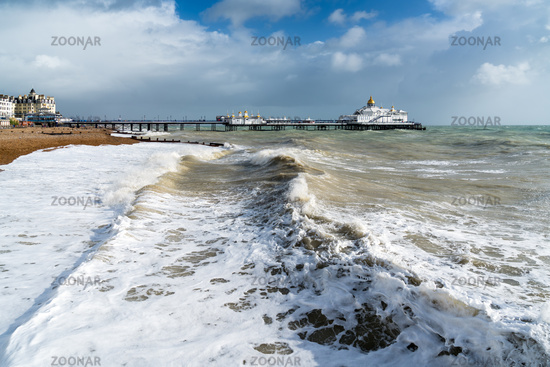 EASTBOURNE, EAST SUSSEX/UK - OCTOBER 21 : Tail End of Storm Brian Racing Past Eastbourne Pier in East Sussex on October 21, 2017