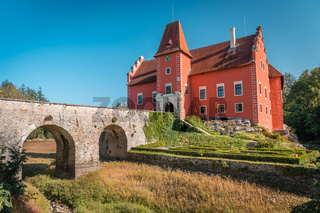 Red water chateau Cervena Lhota in Southern Bohemia, Czech Republic.Summer weather without clouds. Castle without water due to dam failure in 2019.