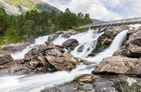 Waterfall Likholefossen along Gaularfjellet in Norway
