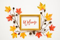 Colorful Autumn Leaf Decoration, Frame, Text Welcome