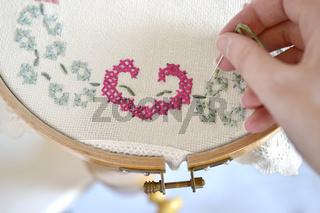 embroidery yarn handwork sewing thread hoop needle