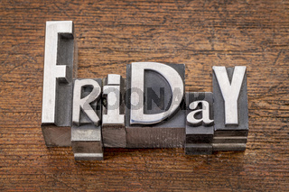 Friday word in mixed vintage metal type