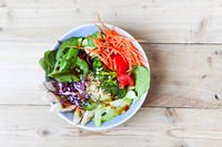 Vegetable power bowl on table