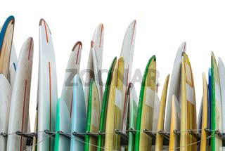 A Rack Of Rental Surfboards