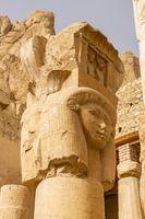 Hathor columns in the Hathor Chapel inside Mortuary Temple of Hatshepsut