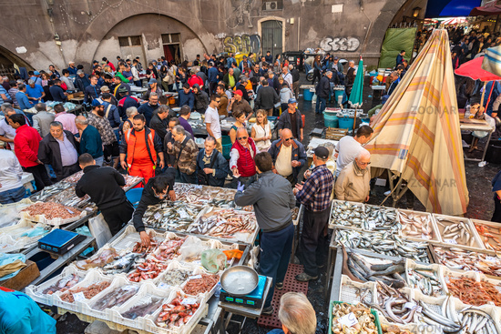 Catania, Italy - May 11, 2019: La Pescheria, the famous historical fish market in Catania, Sicily.