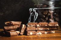 Milk chocolate bars. Brown nut chocolate