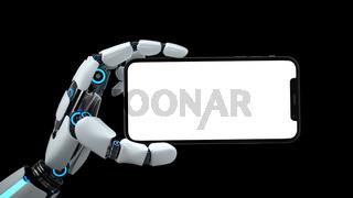 Humanoid Robot Hand Smartphone White Screen