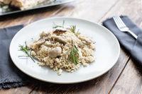 Tagliatelle vegetarian Pasta with Mushrooms.