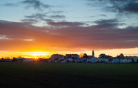 Sunrise at village of Vösendorf in Lower Austria