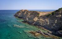 Aerial view  on coast and sea rocks near Kalo Horafi or Vossako beach on Crete, Greece.