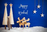 Christmas Tree, Moose, Snow, Star, Text Happy Weekend