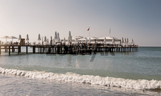 Seascape: the beach and the pier for guests.