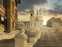 The Spanish Steps in Rome without people and tourists at sunset.