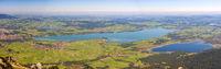 Panorama Landschaft im Allgäu mit Forggensee bei Füssen