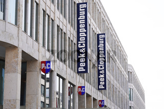 Peek  Cloppenburg and PC logo signs at facade of local retail clothing store branch in Hannover, Germany on March 2, 2020