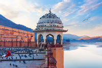 Rotunda of Amber Fort, indian lady feeding pigeons by the Maotha Lake, Jaipur, India