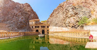 The lower tank of the temple Galta Ji in the Aravalli Hills, Jaipur, Rajasthan, India