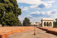 Red Fort Delhi inner courtyard, India, sunny day view