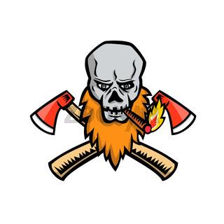 Bearded Skull Crossed Axe Cigar Mascot