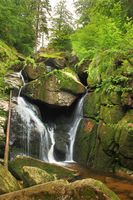 Waterfall at Black Water Stream in Izera Mountains Czech Republic