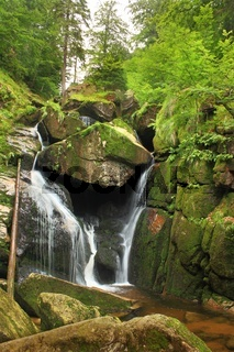 Waterfall at Black Water Stream in Izera Mountains Czech Republic