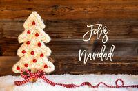 Fabric Christmas Tree, Ball, Snow, Feliz Navidad Means Merry Christmas
