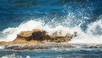 ocean rough rock water splash background