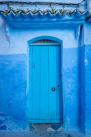 Blue door and wall in Chefchaouen, Morocco