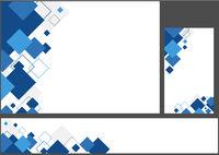 Satz blaue geometrische Hintergründe mit Quadraten
