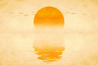 beautiful golden sunset with birds digital painting